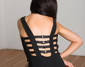 90s Cage Back Dress Black Bodycon Mini Dress Cut Out Black Dress Goth Strappy Black Dress Sexy Club Wear Dress Stretchy Fitted Sexy LBD (M)