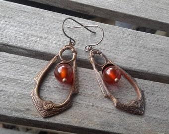 Vintaj Gypsy Earrings   Rich Brass Patina Dangles with Dark Orange Carnelian Drops