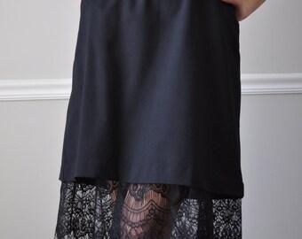 Slip Extender - Black Lace Ruffle Trim Slip, Size XS S M L XL XXL