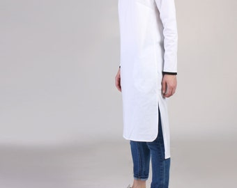 NEW  V Neck Long White Shirt with High Low Hem, White Pocket ShirtDress, Tunic Dress, Oversized White Long Shirt  - White with Black Trim