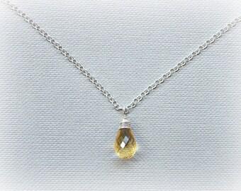 Citrine necklace pendant, November birthstone, petite citrine silver necklace, November birthday gift, golden citrine wire wrapped pendant