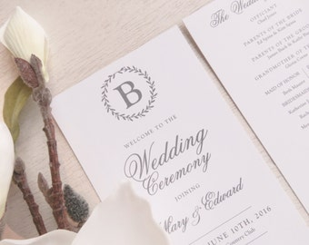 Wedding Programs - Style P70 - LAUREL Wreath COLLECTION | wedding programs  |  ceremony program  |  programs - Printable