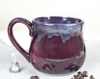 Large 28 oz. Coffee Mug, Eggplant purple and blue Tea Cup, Hot Cocoa Big Old Cup, Hostess Gift