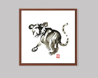 Zen Tiger, Chinese New Year of the Tiger, Zen Fine Art Sumi-e Painting, zen decor, childs room, nursery art, japanese style, taoist wall art