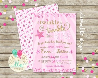 Twinkle Twinkle Little Starfish, Girl Baby Shower Invite, Pink Starfish Invite, Pink and Gold Baby Shower, Printable Invitation, DIY File