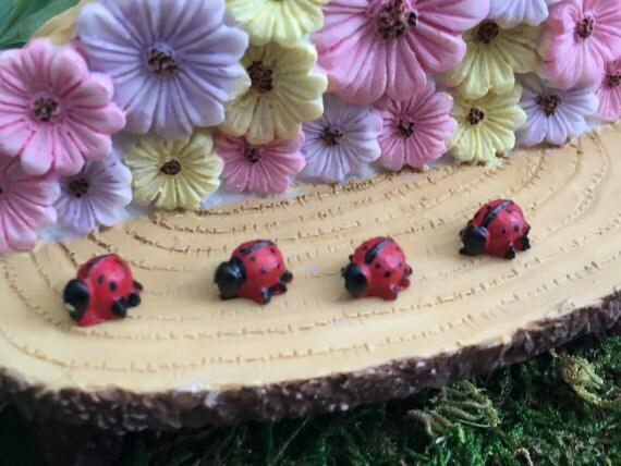 Miniature Ladybugs,  Packaged set of 4, Fairy Garden Accessory, Garden Decor, Miniature Gardening