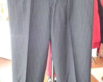 Vintage Mens Pinstripe Black and Grey Tuxedo Pants