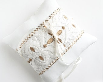Bohemian Wedding, Ring Pillow, White and Gold Pillow, Ring Bearer Pillow, Sample Sale