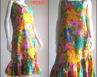 60s 70s vintage flower dress