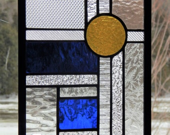 Stained Glass Textured Geometric Panel Blue/Yellow