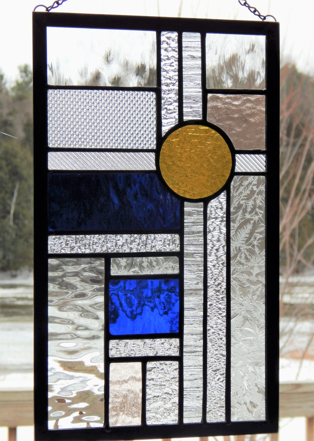 Stained glass textured geometric panel blue yellow for Textured glass panels