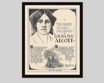 Louisa May Alcott, Vintage Art Print, Historical Figure, Classic Literature, Woman Author, Book Lover Gift, Librarian Gift, Literary Art