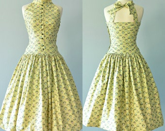 Vintage 1950s Sundress...KABRO OF HOUSTON  Cotton Novelty Print Sundress