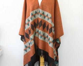 Autumn fall poncho Native outerwear Women coat Kilim pattern poncho Mexican poncho Boho chic shawl Bohemian outerwear Burnt orange black