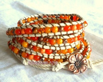 Orange Beaded Antiqued Copper Cotton Twist Cord Wrap Boho Bracelet 32 33 34 Vegan BBBBWraps Style