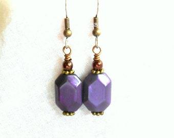 Purple Earrings Rectangular Earrings Drop Earrings Dangle Surgical Steel Hooks French Hooks Beaded Earrings Bronzed Earrings