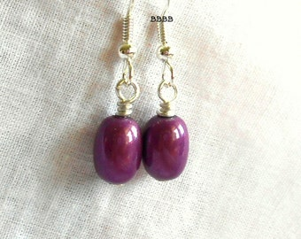 Violet Purple Mystic Earrings Surgical Steel French Hooks