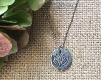 Lotus Flower Necklace,Sterling Silver Necklace,Charm Necklace,Nature Inspired Nacklace,Yoga Necklace,