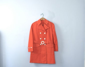 Vintage 60's bright red orange trench coat, mod jacket, size small 6 / 4