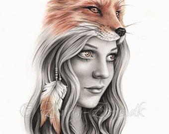 Fox Girl Feather Native Indian Spiritual Emo Art Print Zindy