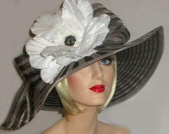 CLASSY STRIPES Kentucky Derby Hat, Black And Silver Grey Striped Sinamay Hat, Mega White Poppy, Wide Brim Tea Party Hat, Downton Abbey Hat