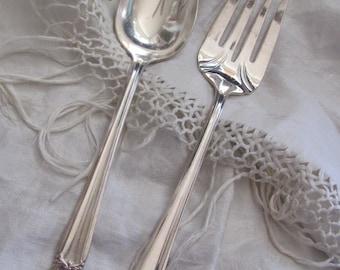 Vintage Silver Plate Large Serving Spoon Fork Set - Eternally Yours Pattern