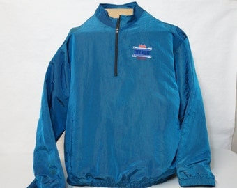 Nylon Hudy Delight Windbreaker Jacket Large or XL Embroidered Logo Blue with Pockets