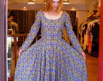 Tribal Hand Screened 60s-70s Dress