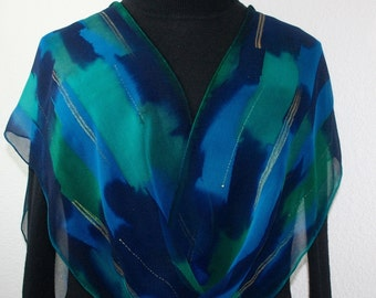 Teal, Navy Blue Silk Scarf. Emerald, Turquoise Hand Painted Silk Shawl ENGLISH BLUES. Extra Long 11x90. Birthday Gift, Bridesmaid Gift.