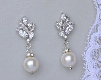 Ivory White Pearl Earrings, Crystal and Leafy Pearl Bridal Earrings, Wedding Jewelry, Bridesmaid Earrings, FLORA