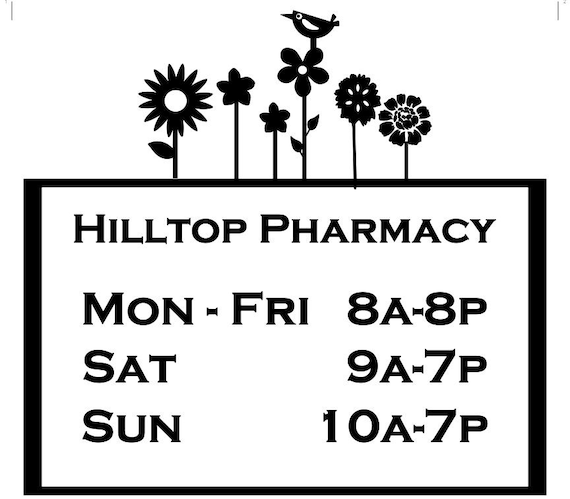 Flower Bird Store Hours / Vinyl Decal / Store Hours / Open Hours / Closed Hours / Sign / Storefront Sign