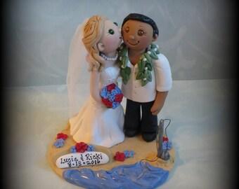 Wedding Cake Topper, Custom Cake Topper, Bride and Groom, Kissing, Fishing, Beach, Polymer Clay, Personalized, Keepsake