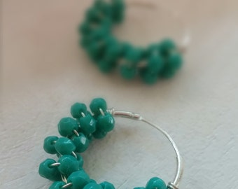 Teal & Silver beaded circular earrings