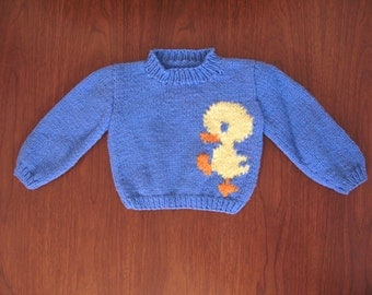 toddler duck sweater - 70s 80s baby childrens light blue yellow handmade hand knit warm chunky pullover jumper mock turtleneck fall winter