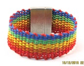 Leather woven rainbow bracelet