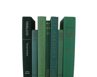 Vintage Home Decor, Green Books, Old Green Books, Decorative Books , Wedding Centerpiece, Book Home Decor,  Vintage Books , Instant Library