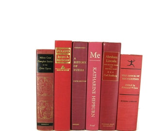 Rose Red and Pink Shades Decorative Books , Vintage Book Decor ,  Photo Prop , Bookshelf Decor  , Home Decor , Old Book Decor ,