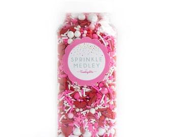 16oz (2 cups) Bottle BE MINE Sprinkle Medley, Valentine's Sprinkles, Red and Pink Sprinkles