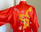 Vintage Chinese Red and Gold Embroidered Dragon Robe with Sash, Silky, Mother of Dragons, Bath Robe, Dressing Gown, Kimono