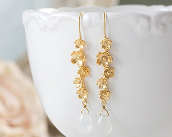 Moonstone Earrings, Gold Twig Earrings, Gold Flower Blossoms Dangle Earrings, Natural Gemstone Earrings, White Crystal Bridal Earrings