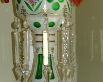 MOSER Overlay Glass MANTLE PIECES (Pair) - Imported Czech Rep. - mid-20th Century