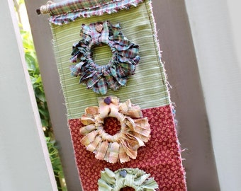 Rustic Wall Hanging,  Shaggy Chic, Bamboo and Twine Hanger, Tied Fabric Wreaths