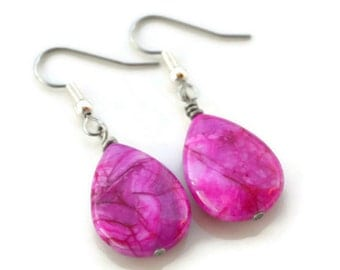 Pink Crazy Lace Agate . Earrings