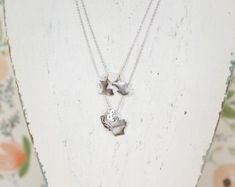 Long Distance Lovers, 2 State Necklace, Silver, Best Friends, Graduation, Bridesmaid, Wedding Gift, Gift for Her, State to State