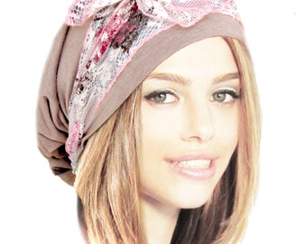 Beige Head Scarf Brown Tichel Pink Snood Pre Tied Bandana Boho Chic Head Scarves, Tichel Hair Snood Chemo Hat Floral Lace Wrap - 075