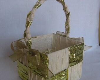 "Gold & Cream Paper Gift Basket, Small Gift Basket, Paper Twist Basket, 5"" Basket, Wedding Gift Basket, Birthday Gift Basket SnowNoseCrafts"
