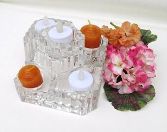 Vintage Glass Candle Holder | Candle Stand | Crystal Candleholder | 5 Tier Stand | Tealight Holder | Partylite Castle