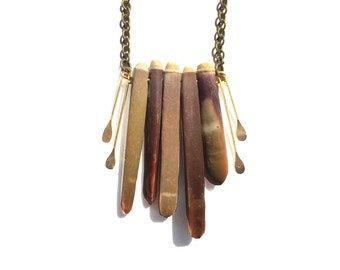 Sea Urchin Necklace - Geometric Fringe Necklace, Art Deco Jewelry, Brass Tassel Necklace, Boho Chic, Urchin Spine Necklace, Gift for Her