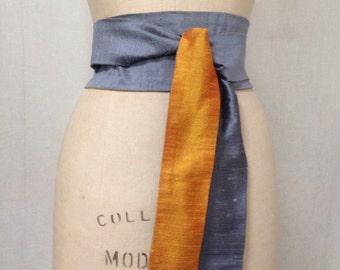 Slate Blue & Saffron Yellow Reversible Shantung Obi Sash