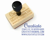 Custom Business Card Rubber Stamp - Customized Small Business - Wood Mounted Rubber Stamp